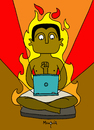Cartoon: Digital Scribba on Fire (small) by Munguia tagged seated scribba egypt arab spring revolution digital fire network