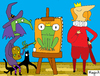 Cartoon: Embrujarte (small) by Munguia tagged witch,bruja,prince,frog,paint,painter,picture,art