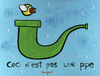 Cartoon: Flappy Bird Says (small) by Munguia tagged magritte,flappy,bird,pipe,mario,bros,video,game,app,store,mac