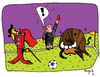 Cartoon: foul of the bull fighter (small) by Munguia tagged soccer,futbol,sports,munguia,costa,rica,world,cup,tv,television,broadcast,cable