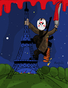 Cartoon: Friday the 13th in Paris (small) by Munguia tagged terrorism,jason,eiffer,towel,france,paris,terrorist,horror,viernes,13,en,munguia,costa,rica