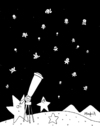 Cartoon: Humanist night (small) by Munguia tagged stars night nite stary telescope dark space astro