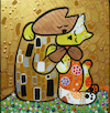 Cartoon: Kitten Kiss (small) by Munguia tagged kitten,cats,gatos,kiss,beso,klimt,gustav,famous,paintings,parodies,parodias,de,pinturas,famosas