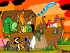 Cartoon: ark of extinction (small) by Munguia tagged animal,wellfare,noah,ark,arc,animals,endangered,species,death,dead,muerte,reaper,dinosaurs,panda