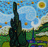 Cartoon: Sunny Day (small) by Munguia tagged starry night vincent van gogh noche estrellada spoof famous paintings parodies