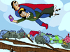 Cartoon: Super Selfie (small) by Munguia tagged over,the,town,marc,chagall,parody,painting,flying,superman,louis,lane,selfie,cellphone