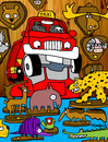 Cartoon: taxidermist (small) by Munguia tagged taxi,taxidermist,taxidermy,taxidermista,costa,rica,munguia,animals,cartoon,caricatura,jaguar,danta,tucan,anteater,armadillo,cocodrile,gator,aligator,deer,bear,rhino