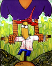 Cartoon: the crow scare scare crow (small) by Munguia tagged colibri phone card tarjeta telefonica pre pago munguia calcamunguias scarecrow crow espantapajaros maiz corn