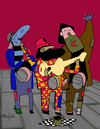 Cartoon: The Hole - 3 poor musicians (small) by Munguia tagged music singers band poor hungry hunger hambre empty starving street urban homeless artist public