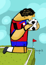Cartoon: The Kiss Costa Rica (small) by Munguia tagged klimt,kiss,football,soccer,world,cup,brazil,2014,fifa,love,ball,costa,rica,italy