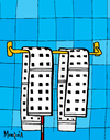 Cartoon: The Twin Towells (small) by Munguia tagged september11,911,twin,towers,new,york,terror,usa,2001,towels,death