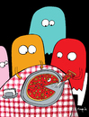 Cartoon: they eat pac man (small) by Munguia tagged pizzapitch pizza food slice pac man ghost atari videogame 80 restaurant