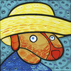 Cartoon: Van Dog (small) by Munguia tagged self portrait with straw hat vincent van gogh perro autorretrato con sombrero de paja parody famous paintings munguia