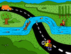 Cartoon: Water Bridge (small) by Munguia tagged bridge water road landscape paisaje land canoe canoa country munguia costa rica humor caricatura grafico