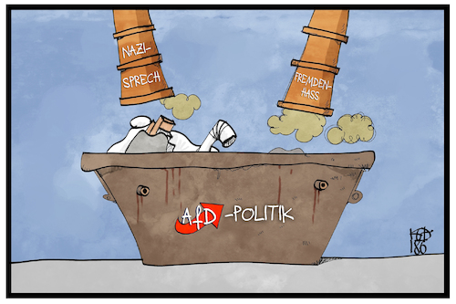 Cartoon: AfD-Politik (medium) by Kostas Koufogiorgos tagged karikatur,koufogiorgos,illustration,cartoon,gauland,ns,nationalsozialismus,vogelschiss,zitat,verharmlosung,afd,nazisprech,politik,müll,fremdenhass,partei,karikatur,koufogiorgos,illustration,cartoon,gauland,ns,nationalsozialismus,vogelschiss,zitat,verharmlosung,afd,nazisprech,politik,müll,fremdenhass,partei