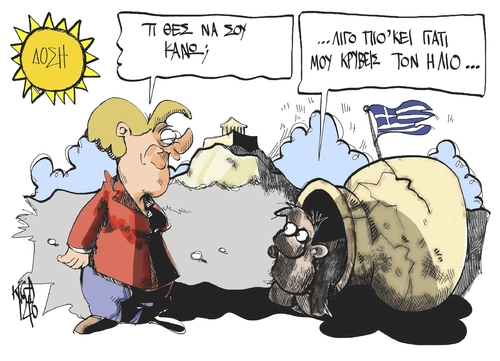Cartoon: Angela and Diogenes (medium) by Kostas Koufogiorgos tagged voitheia,paketo,litotita,episkepsi,koufogiorgos,visit,merkel,cartoon,depresssion,eurocrisis,troika,greece,samaras,stournaras,plan,austerity,austerity,plan,stournaras,samaras,greece,troika,eurocrisis,depresssion,cartoon,merkel,visit,koufogiorgos,episkepsi,litotita,paketo,voitheia