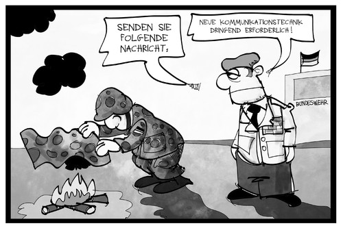 Cartoon: Bundeswehr (medium) by Kostas Koufogiorgos tagged karikatur,koufogiorgos,illustration,cartoon,bundeswehr,ruestung,ruestungsmaengel,soldat,kommandant,kommunikation,rauchzeichen,signal,technik,kommunikationstechnik,modernisierung,heer,verteidigung,karikatur,koufogiorgos,illustration,cartoon,bundeswehr,ruestung,ruestungsmaengel,soldat,kommandant,kommunikation,rauchzeichen,signal,technik,kommunikationstechnik,modernisierung,heer,verteidigung