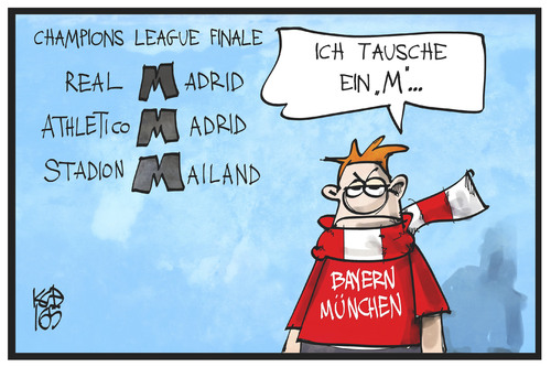Cartoon: Champions League-Finale (medium) by Kostas Koufogiorgos tagged karikatur,koufogiorgos,illustration,cartoon,champions,league,fussball,finale,madrid,mailand,münchen,bayern,fan,sport,tauschen,karikatur,koufogiorgos,illustration,cartoon,champions,league,fussball,finale,madrid,mailand,münchen,bayern,fan,sport,tauschen
