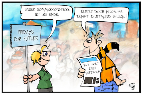 Cartoon: Dortmund im Glück (medium) by Kostas Koufogiorgos tagged karikatur,koufogiorgos,illustration,cartoon,fridays,future,bvb,dortmund,fussball,congress,klima,umwelt,sommercamp,kongress,sport,fan,aktivist,karikatur,koufogiorgos,illustration,cartoon,fridays,future,bvb,dortmund,fussball,congress,klima,umwelt,sommercamp,kongress,sport,fan,aktivist