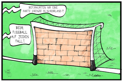 Cartoon: EM-Qualifikation (medium) by Kostas Koufogiorgos tagged karikatur,koufogiorgos,illustration,cartoon,em,qualifikation,nordirland,belfast,fussball,sport,europameisterschaft,mauer,grenze,backstop,brexit,karikatur,koufogiorgos,illustration,cartoon,em,qualifikation,nordirland,belfast,fussball,sport,europameisterschaft,mauer,grenze,backstop,brexit