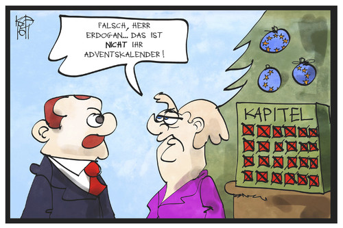 Cartoon: EU-Beitritt Türkei (medium) by Kostas Koufogiorgos tagged karikatur,koufogiorgos,illustration,cartoon,eu,europa,tuerkei,beitritt,merkel,erdogan,weihnachten,adventskalender,kapitel,verhandlung,karikatur,koufogiorgos,illustration,cartoon,eu,europa,tuerkei,beitritt,merkel,erdogan,weihnachten,adventskalender,kapitel,verhandlung