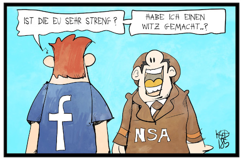Cartoon: Facebook (medium) by Kostas Koufogiorgos tagged karikatur,koufogiorgos,illustration,cartoon,zuckerberg,facebook,nsa,usa,datenschutz,eu,europa,social,media,internet,agent,spionage,user,witz,karikatur,koufogiorgos,illustration,cartoon,zuckerberg,facebook,nsa,usa,datenschutz,eu,europa,social,media,internet,agent,spionage,user,witz