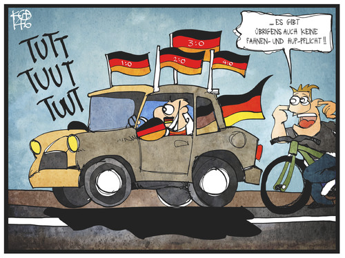 Cartoon: Fahnen- und Helmpflicht (medium) by Kostas Koufogiorgos tagged karikatur,koufogiorgos,illustration,cartoon,helm,fahne,flagge,auto,autokorso,fußball,fan,sport,lärm,karikatur,koufogiorgos,illustration,cartoon,helm,fahne,flagge,auto,autokorso,fußball,fan,sport,lärm
