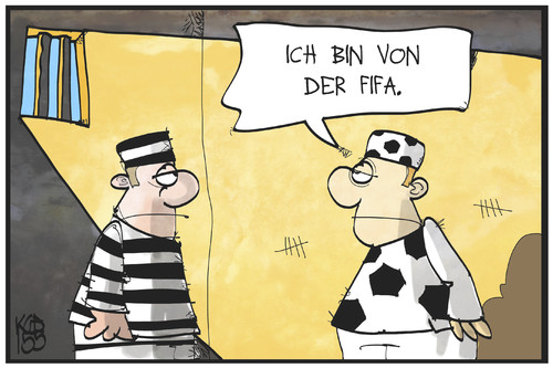 Cartoon: FIFA-Skandal (medium) by Kostas Koufogiorgos tagged karikatur,koufogiorgos,illustration,cartoon,fifa,fussball,verband,haft,gefängnis,korruption,sport,häftling,karikatur,koufogiorgos,illustration,cartoon,fifa,fussball,verband,haft,gefängnis,korruption,sport,häftling