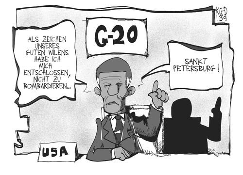 Cartoon: G20-Gipfel (medium) by Kostas Koufogiorgos tagged obama,gipfel,g20,petersburg,russland,usa,bombardierung,konflikt,krieg,karikatur,koufogiorgos,obama,gipfel,g20,petersburg,russland,usa,bombardierung,konflikt,krieg,karikatur,koufogiorgos