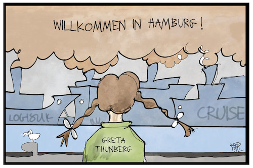 Cartoon: Greta in Hamburg (medium) by Kostas Koufogiorgos tagged karikatur,koufogiorgos,illustration,cartoon,greta,fridays,for,future,hamburg,schiff,luft,verschmutzung,umwelt,klima,aktivistin,thunberg,hafen,karikatur,koufogiorgos,illustration,cartoon,greta,fridays,for,future,hamburg,schiff,luft,verschmutzung,umwelt,klima,aktivistin,thunberg,hafen
