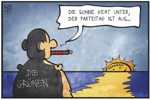 Cartoon: Grüne Ideale (medium) by Kostas Koufogiorgos tagged karikatur,koufogiorgos,illustration,cartoon,grüne,atomkraft,sonne,sonnenuntergang,parteitag,ende,partei,politik,karikatur,koufogiorgos,illustration,cartoon,grüne,atomkraft,sonne,sonnenuntergang,parteitag,ende,partei,politik