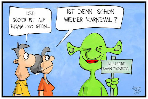 Cartoon: Grüner Söder (medium) by Kostas Koufogiorgos tagged karikatur,koufogiorgos,illustration,cartoon,soeder,csu,gruene,partei,politik,shrek,karneval,verkleidung,bahn,ticket,karikatur,koufogiorgos,illustration,cartoon,soeder,csu,gruene,partei,politik,shrek,karneval,verkleidung,bahn,ticket