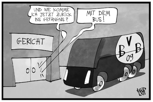 Cartoon: Haftstrafe für BVB-Attentäte (medium) by Kostas Koufogiorgos tagged karikatur,koufogiorgos,illustration,cartoon,bvb,attentat,attentäter,anschlag,bus,mannschaft,fussball,sport,gefängnis,karikatur,koufogiorgos,illustration,cartoon,bvb,attentat,attentäter,anschlag,bus,mannschaft,fussball,sport,gefängnis