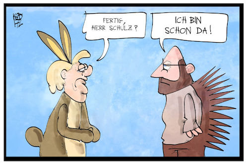 Cartoon: Hase Merkel und Igel Schulz (medium) by Kostas Koufogiorgos tagged karikatur,koufogiorgos,illustration,cartoon,merkel,schulz,hase,igel,fabel,wettrennen,kandidat,bundeskanzler,politik,wahlkampf,grimm,märchen,karikatur,koufogiorgos,illustration,cartoon,merkel,schulz,hase,igel,fabel,wettrennen,kandidat,bundeskanzler,politik,wahlkampf,grimm,märchen