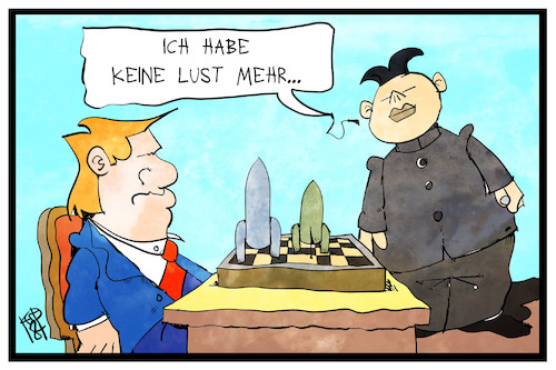 Cartoon: Nukleare Abrüstung (medium) by Kostas Koufogiorgos tagged karikatur,koufogiorgos,illustration,cartoon,abrüstung,nordkorea,trump,spiel,gegner,usa,nuklear,atom,waffen,konflikt,karikatur,koufogiorgos,illustration,cartoon,abrüstung,nordkorea,trump,spiel,gegner,usa,nuklear,atom,waffen,konflikt