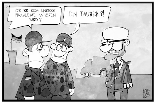 Cartoon: Peter Tauber (medium) by Kostas Koufogiorgos tagged karikatur,koufogiorgos,illustration,cartoon,peter,tauber,soldat,verteidigungsministerium,taub,probleme,sorgen,bundeswehr,politik,karikatur,koufogiorgos,illustration,cartoon,peter,tauber,soldat,verteidigungsministerium,taub,probleme,sorgen,bundeswehr,politik
