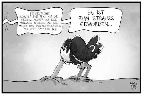 Cartoon: Rechtspopulisten-Tweets (medium) by Kostas Koufogiorgos tagged karikatur,koufogiorgos,illustration,cartoon,afd,twitter,tweet,vogel,straftat,anschlag,ausländer,partei,populismus,social,media,karikatur,koufogiorgos,illustration,cartoon,afd,twitter,tweet,vogel,straftat,anschlag,ausländer,partei,populismus,social,media