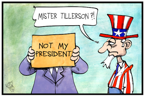 Cartoon: Rex Tillerson (medium) by Kostas Koufogiorgos tagged karikatur,koufogiorgos,illustration,cartoon,tillerson,trump,president,usa,uncle,sam,job,amt,aufgabe,entlassung,aussenminister,politik,regierung,kabinett,karikatur,koufogiorgos,illustration,cartoon,tillerson,trump,president,usa,uncle,sam,job,amt,aufgabe,entlassung,aussenminister,politik,regierung,kabinett