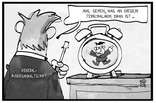 Cartoon: Terroralarm (medium) by Kostas Koufogiorgos tagged karikatur,koufogiorgos,illustration,cartoon,terroralarm,wecker,maiziere,generalbundesanwalt,reparieren,inspektion,untersuchung,justiz,terrorismus,karikatur,koufogiorgos,illustration,cartoon,terroralarm,wecker,maiziere,generalbundesanwalt,reparieren,inspektion,untersuchung,justiz,terrorismus