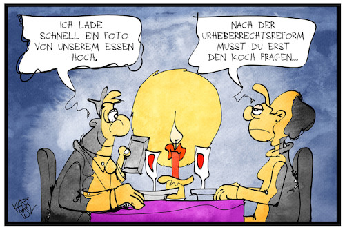 Cartoon: Urheberrecht (medium) by Kostas Koufogiorgos tagged karikatur,koufogiorgos,illustration,cartoon,urheberrecht,koch,gast,restaurant,essen,foto,instagram,facebook,bildrechte,uploadfilter,smartphone,paar,karikatur,koufogiorgos,illustration,cartoon,urheberrecht,koch,gast,restaurant,essen,foto,instagram,facebook,bildrechte,uploadfilter,smartphone,paar