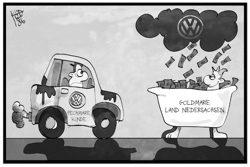 Cartoon: VW-Bußgeld (medium) by Kostas Koufogiorgos tagged karikatur,koufogiorgos,illustration,cartoon,vw,volkswagen,dieselgate,bußgeld,niedersachsen,goldmarie,pechmarie,märchen,grimm,frau,holle,geldregen,karikatur,koufogiorgos,illustration,cartoon,vw,volkswagen,dieselgate,bußgeld,niedersachsen,goldmarie,pechmarie,märchen,grimm,frau,holle,geldregen
