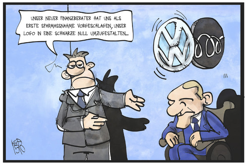 Cartoon: VW spart (medium) by Kostas Koufogiorgos tagged karikatur,koufogiorgos,illustration,cartoon,schäuble,vw,volkswagen,automobil,konzern,industrie,berater,schwarze,null,logo,umwandlung,wirtschaft,dieselgate,abgasskandal,karikatur,koufogiorgos,illustration,cartoon,schäuble,vw,volkswagen,automobil,konzern,industrie,berater,schwarze,null,logo,umwandlung,wirtschaft,dieselgate,abgasskandal