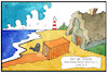 Cartoon: Container in der Nordsee (small) by Kostas Koufogiorgos tagged karikatur,koufogiorgos,illustration,cartoon,nordsee,container,frachter,treibgut,meer,küste,strand