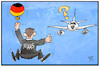 Cartoon: Defekte Flugbereitschaft (small) by Kostas Koufogiorgos tagged karikatur,koufogiorgos,illustration,cartoon,maas,flugzeug,flugbereitschaft,panne,fliegen,aussenminister,trampen