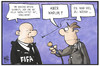 Cartoon: FIFA (small) by Kostas Koufogiorgos tagged karikatur,koufogiorgos,illustration,cartoon,fifa,komiker,geld,banknoten,fussball,verband,blatter,korruption,medien,journalist,reporter,sport