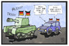 Cartoon: Rüstungsexporte (small) by Kostas Koufogiorgos tagged karikatur,koufogiorgos,cartoon,illustration,ruestung,ruestungsindustrie,exporte,wirtschaft,autocorso,jubel,fussball,deutschland,em,europameisterschaft,panzer,fahne,flagge,patriotismus