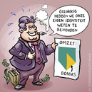 Cartoon: Bonus for ABN bankers (small) by illustrator tagged bank,bonus,abn,banker,bankier,identiteit,omzet,eigen,illustrator,cartoon