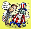 Cartoon: Uncle Sam getting sick (small) by illustrator tagged crisis,financial,debt,uncle,sam,sick,triple,status,ill,usa,united,states,economy,worthiness