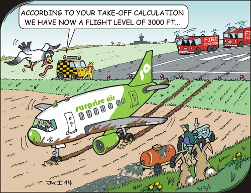 Cartoon: Calculations (medium) by JotKa tagged plane,flying,start,landing,runway,airport,leisure,travel,sun,beach,sea,fire,brigade,air,traffic,control,supervisors,field,peasant,farmer,tractor,manure,fertilizing,bunnies,birds,worms,worm,bird,rabbit,lighting,tower,airline,emergency,rescue,accident,luck,bad,agriculture,farming,lamp,lights,blue,light,siren,pilot,copilot,calculations,surprise,engines,motors,controllers
