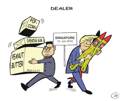 Cartoon: Deal maker (medium) by JotKa tagged president,donald,trump,kim,jong,un,usa,nordkorea,atomwaffen,koreakonflikt,friedensmission,singapur,gipfeltreffen,abrüstung,president,donald,trump,kim,jong,un,usa,nordkorea,atomwaffen,koreakonflikt,friedensmission,singapur,gipfeltreffen,abrüstung
